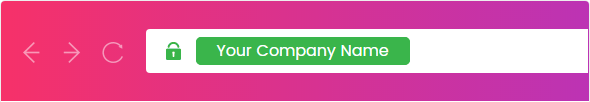 An example of a company name in the Green Bar when using an EV SSL Certificate.