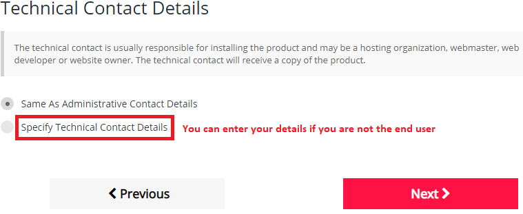 Selecting to add Technical Contact details when placing an order.