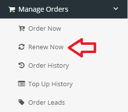 Finding the 'Renew Now' tab under the 'Manage Orders' sub-menu in a Trustico® Reseller account.