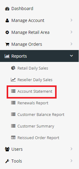 Navigating to the 'Account Statement' area in the Reseller portal.