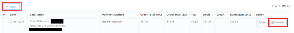Exporting and downloading an invoice for an order in the reseller portal.