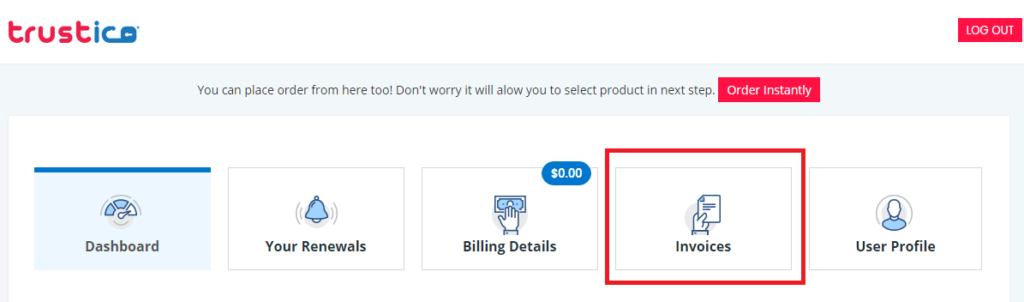 Finding the 'Invoices' tab in a Trustico® retail account.