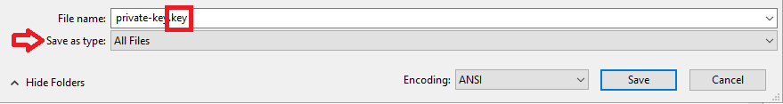 Setting the file type to 'all files' and adding the '.key' extension to the file name.