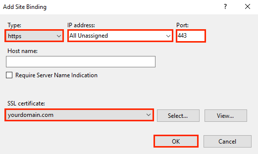 Adding Site bindings by selecting the 'Type', 'IP Address', 'Port', and 'SSL Certificate' options and entering the necessary details.